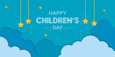 Happy Childrens Day Cloud Background vector