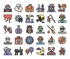 happy halloween color outline vector icons