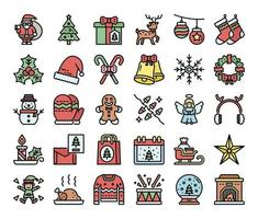 merry christmas color outline vector icons