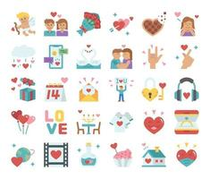 Happy Valentines Day Flat Vector Icons
