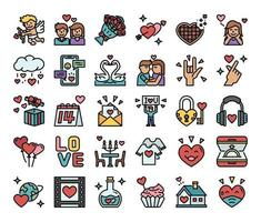 Happy Valentines Day Color Outline Vector Icons