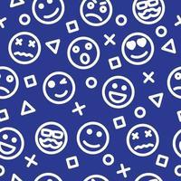 emoji outline seamless pattern vector