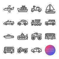 iconos de contorno de transporte vector