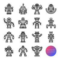 robot outline icons vector