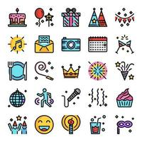 birthday party pixel perfect color line icons vector