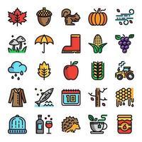 autumn pixel perfect color line icons vector