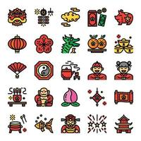 chinese new year pixel perfect color line icons vector