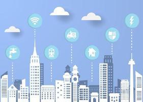 smart city paper cut style vector