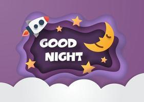 buenas noches estilo de corte de papel vector