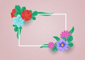 colorful flowers with frame paper cut style vector