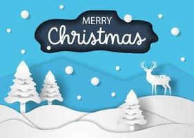 christmas paper cut style vector