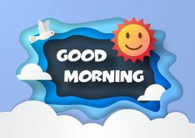 good morning paper cut style vector