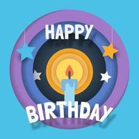 happy birthday paper cut style vector