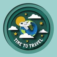 travel planet paper cut design vector