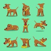 Cartoon character, brown greyhound dog poses vector