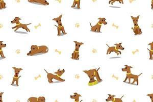 Cartoon character brown greyhound dog seamless pattern vector