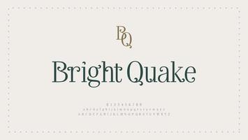elegante fuente de letras del alfabeto y número. diseños de moda minimalista con letras clásicas. tipografía fuentes serif modernas concepto de boda vintage decorativo regular. vector