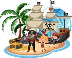 Barco pirata en la isla con muchos niños aislado sobre fondo blanco. vector