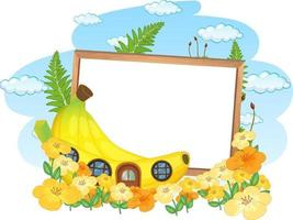 Empty banner with fantasy banana house and many flowers vector