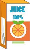 Orange juice box in cartoon style isolated vector