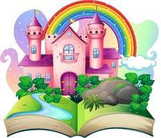 3D pop up book with castle fairy tale theme vector