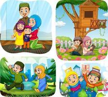 Set of muslim people cartoon character in different scene vector