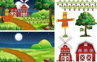 Farm element set isolated with farm scene vector