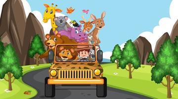 Safari scene at daytime with wild animals on the tourist car vector