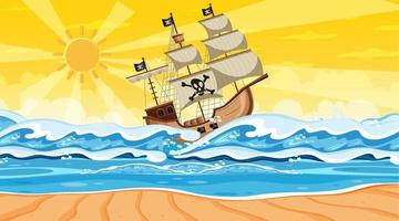 Beach scene at sunset time with Pirate ship in cartoon style vector