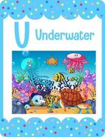 Alphabet flashcard with letter U for Underwater vector