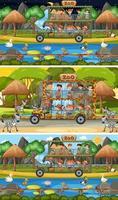 Conjunto de diferentes escenas horizontales de safari con personajes de dibujos animados de animales y niños vector