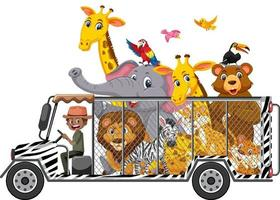Concepto de zoológico con animales salvajes en el coche aislado sobre fondo blanco. vector