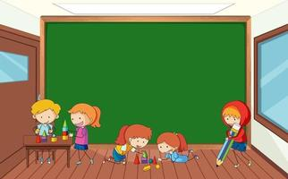 Empty blackboard in classroom scene with many kids doodle cartoon character vector