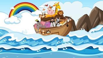 Noah Ark with animals in the ocean scene vector