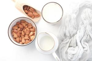 Top view of almonds and milk photo