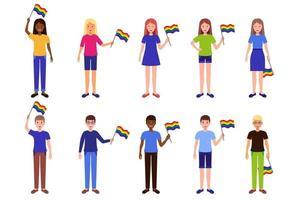 Conjunto de dibujos animados vectoriales de ilustraciones con hombres y mujeres de diferentes razas sosteniendo banderas lgbt vector