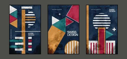 Swiss Design, Abstract Geometric Shapes Background Composition, Suitable For Printing As A Painting, Interior Decoration, Social Posts, Flyers , Book Covers Etc vector