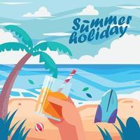 fondo de playa de vacaciones de verano vector