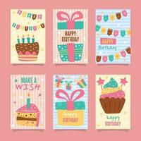 colección de tarjetas de cumpleaños en estilo garabatos vector