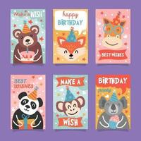 linda colección de tarjetas de cumpleaños de animales vector
