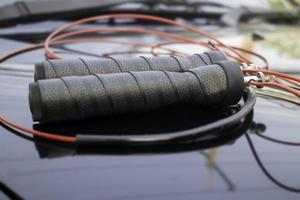 Fitness jumping rope close-up photo