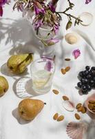 Arrangement of picnic goodies on a blanket photo