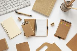 Assortment of recycled paper notebooks photo
