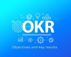 OKR, Objectives and key results, vector illustration