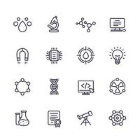Science, technology and research line icons set vector