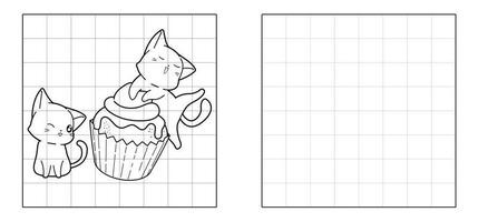 Copy the picture of cats and cupcake cartoon vector