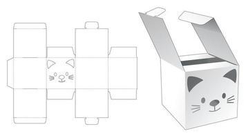Mini flip box with cat stencil die cut template vector