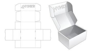 caja de pastel plegable con plantilla troquelada de plantilla de palabra de agradecimiento vector