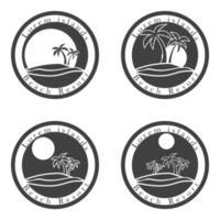 Beach resort Icons dark vector