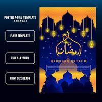 Modern ramadan Flyer or brochure with blue background, flyer template vector